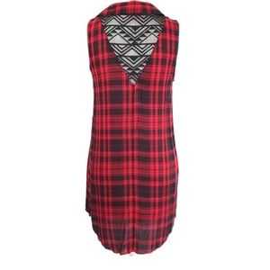 Tops - Womens Buffalo Plaid Lace Red Black Button Top M